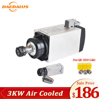 Daedalus 3kw Spindle Motor AC 220V 10A Air Cooled Spindle CNC Router Motor 18000RPM ER20 Collet Chuck For Milling Machine