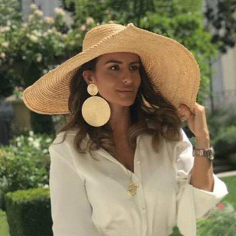2019 Summer Beach Hat Flat Top Hat Women Summer Lafite Straw Sun Hats for Women Wide