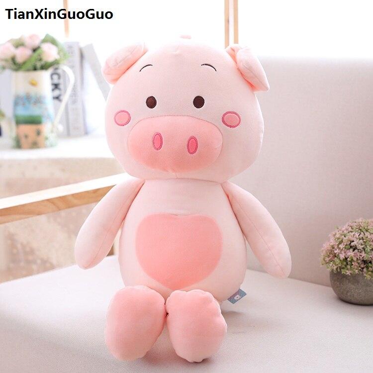 Joli cochon en peluche grand 60 cm coton dessin animé cochon doux poupée jeter oreiller cadeau d'anniversaire h0709