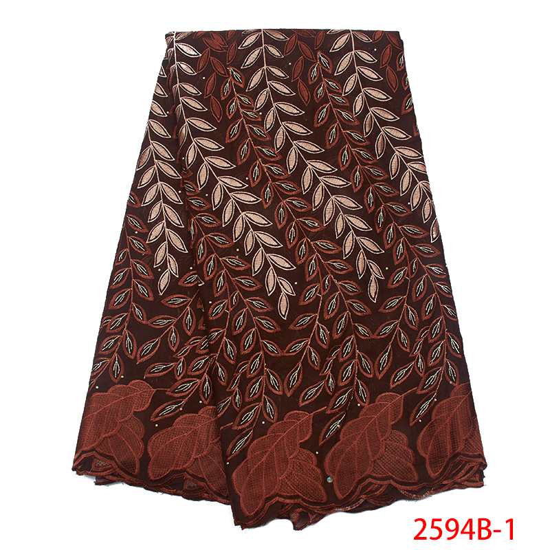 Swiss Voile Lace Hot Selling African Cotton High Quality Nigerian Lace Fabric Embroidery Laces Fabrics With Stone KS25948-1