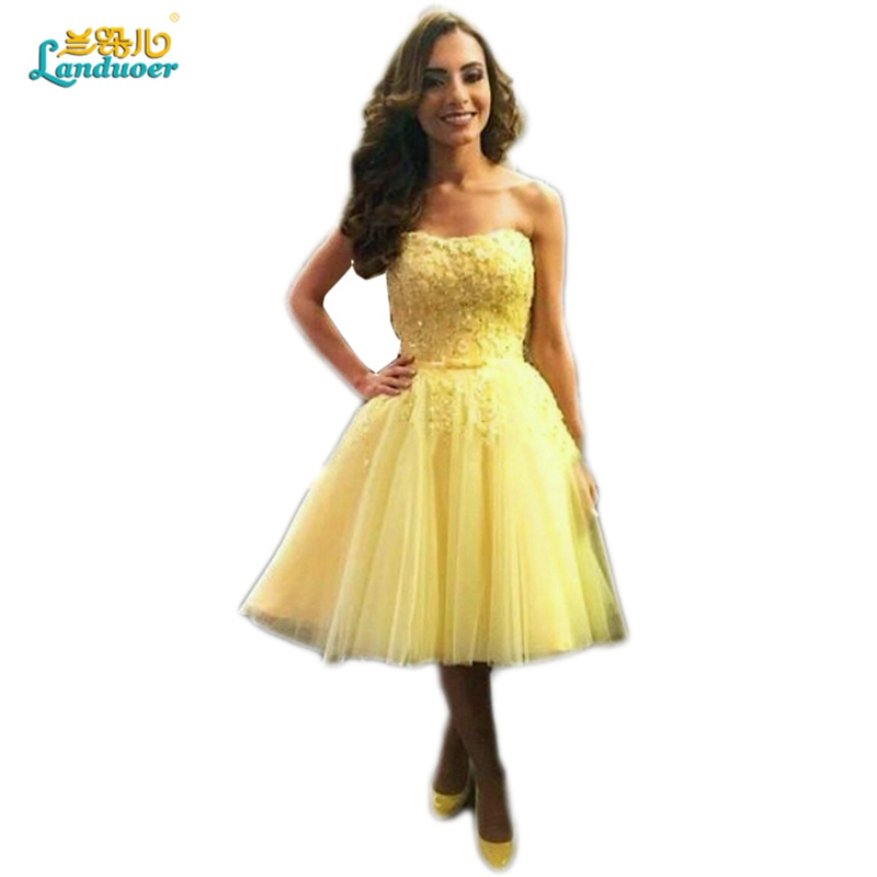 Cheap Yellow Short Prom Dresses For Teens Elegant Lace Up Corset