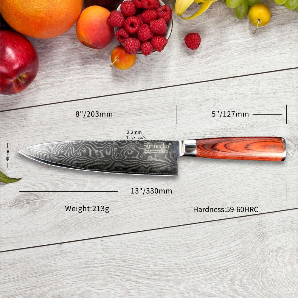 SUNNECKO 8 inç Şef Şam Çelik Pişirme Bıçak Japon VG10 - Mutfak, Yemek ve Bar - Fotoğraf 6