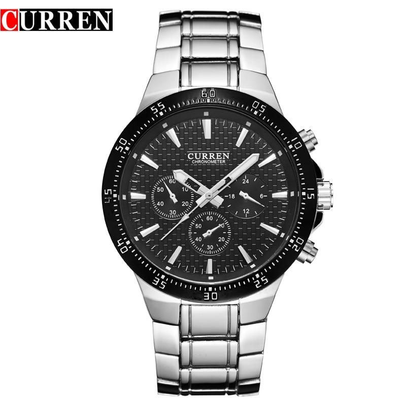 2016 New CURREN Marke Männlich Luxus Uhr Lässige Voller Stahl Armbanduhren Quarz Uhren relogio masculino 8063
