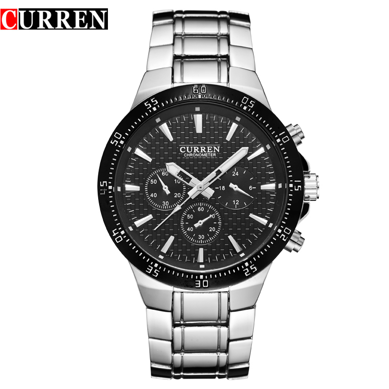 2016 New CURREN Brand Business Men Male Luxury Watch Casual Full Steel  Wristwatches Quartz Watches relogio masculino 8063 rosra brand men luxury dress gold dial full steel band business watches new fashion male casual wristwatch free shipping