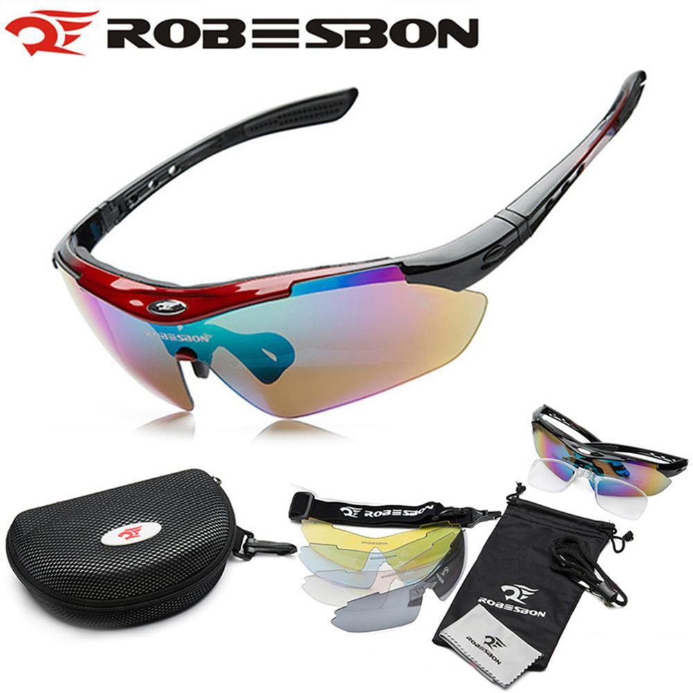 Prix pour ROBESBON Sports de Plein Air VTT Route de Montagne à Vélo Équitation Bicyclette UV400 lunettes de Soleil Lunettes Lunettes Lunettes 5 Lens Expédition Gratuite