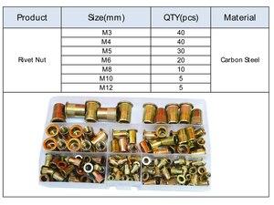 Image 3 - Zinc Plated Rivet Nut Metric Threaded Insert Rivetnut Standard Nutsert M3 M4 M5 M6 M8 M10 M12 Assortment Kit Carbon Steel,150Pcs