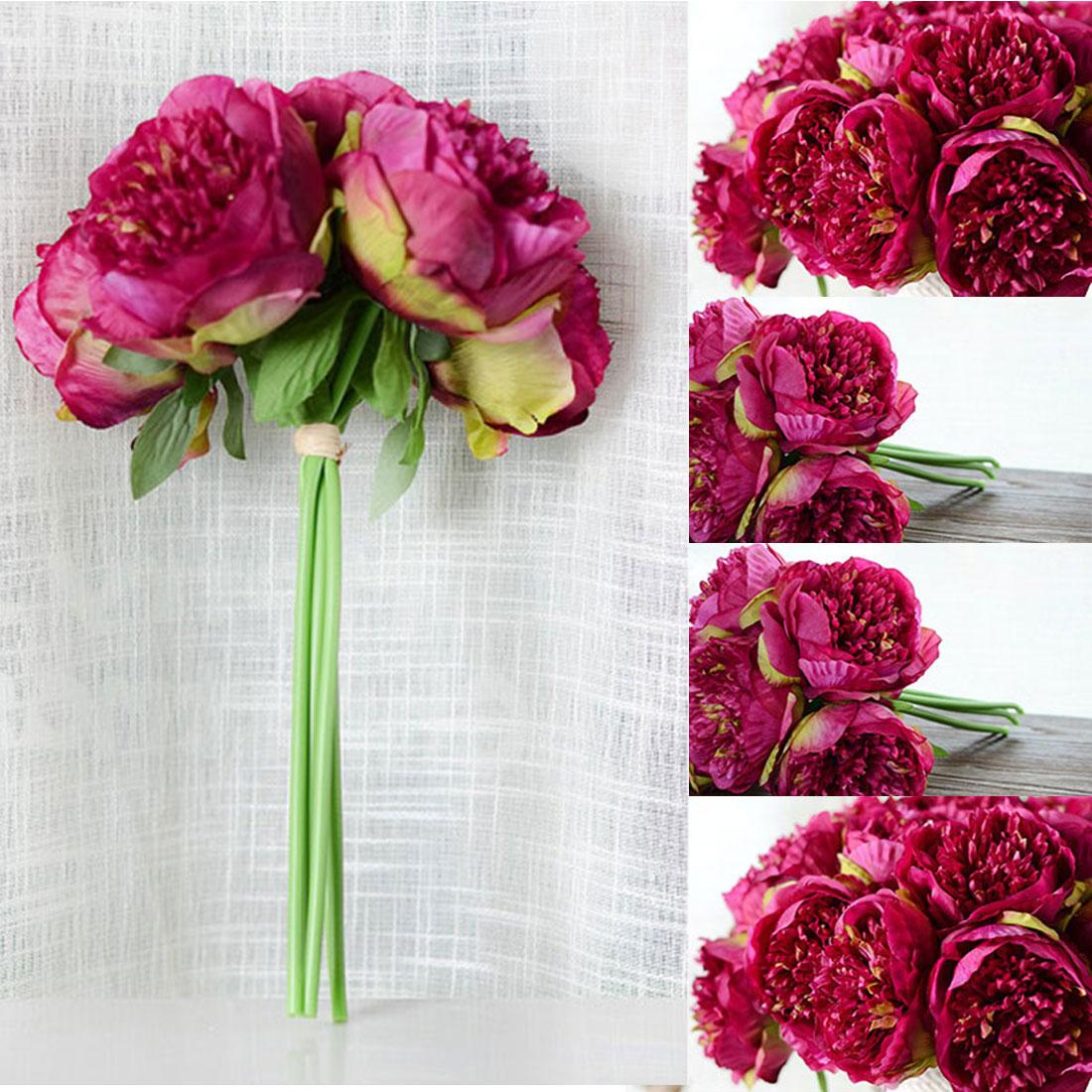 Promo Cheap Artificial Fake Peony Silk Flowers Bridal Bouquet Flower
