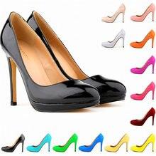 LOSLANDIFEN jesień okrągłe Toe moda platforma obuwie damskie zwięzłe stałe lakierki płytkie buty na obcasie buty damskie