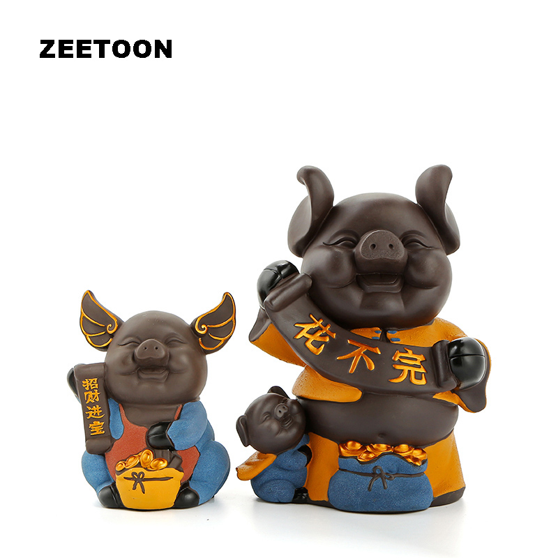 Cute Changeable Pig Figurine Cartoon Piggy Bank Office Tabletop Yixing Money Boxes Feng Shui Ceramic Home Decor Business Gift
