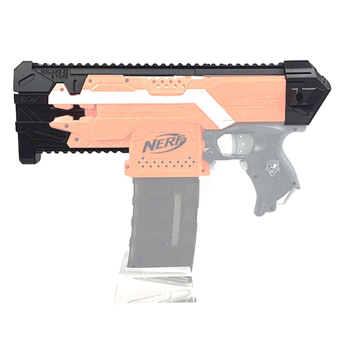 Maliang 3D Printing Science Fiction Style S1 Appearance Modified Kit for Nerf Stryfe - Black maliang appearance modification 3d printing front tube a 3 0 decoration part for nerf zombie strike doublestrike blaster