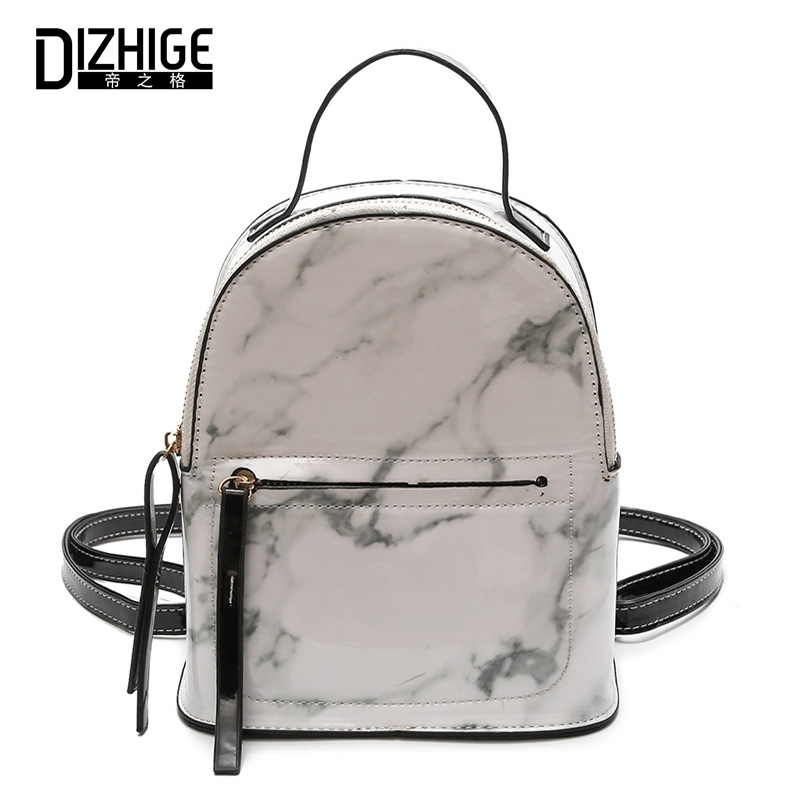 DIZHIGE Brand PU Leather Women Backpack Fashion High Quality School Backpack For Women Thread Marble Pattern BackPack Women New