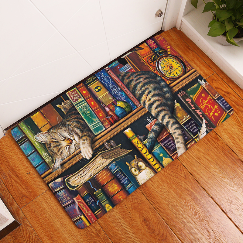 Rectangle Light Welcome Home Door Mats Funny Lazy Bookshelf Sleeping Cat Pattern Carpets 40*60cm Thin Bathroom Carpets