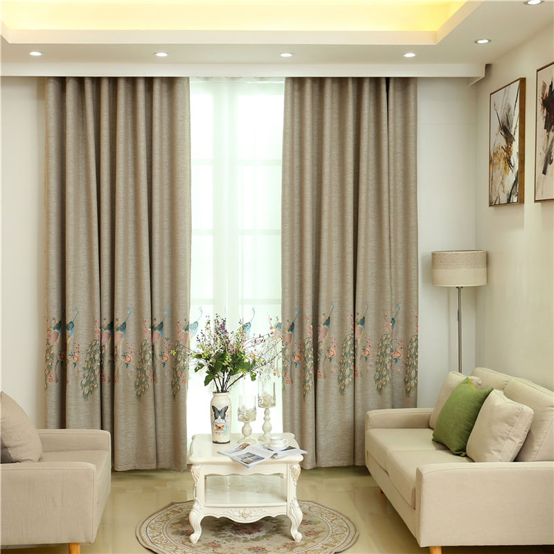 Chinese characteristics Peacock embroidered high quality shade curtains for Living Room luxury custom modern curtain for Bedroom in Curtains from Home Garden