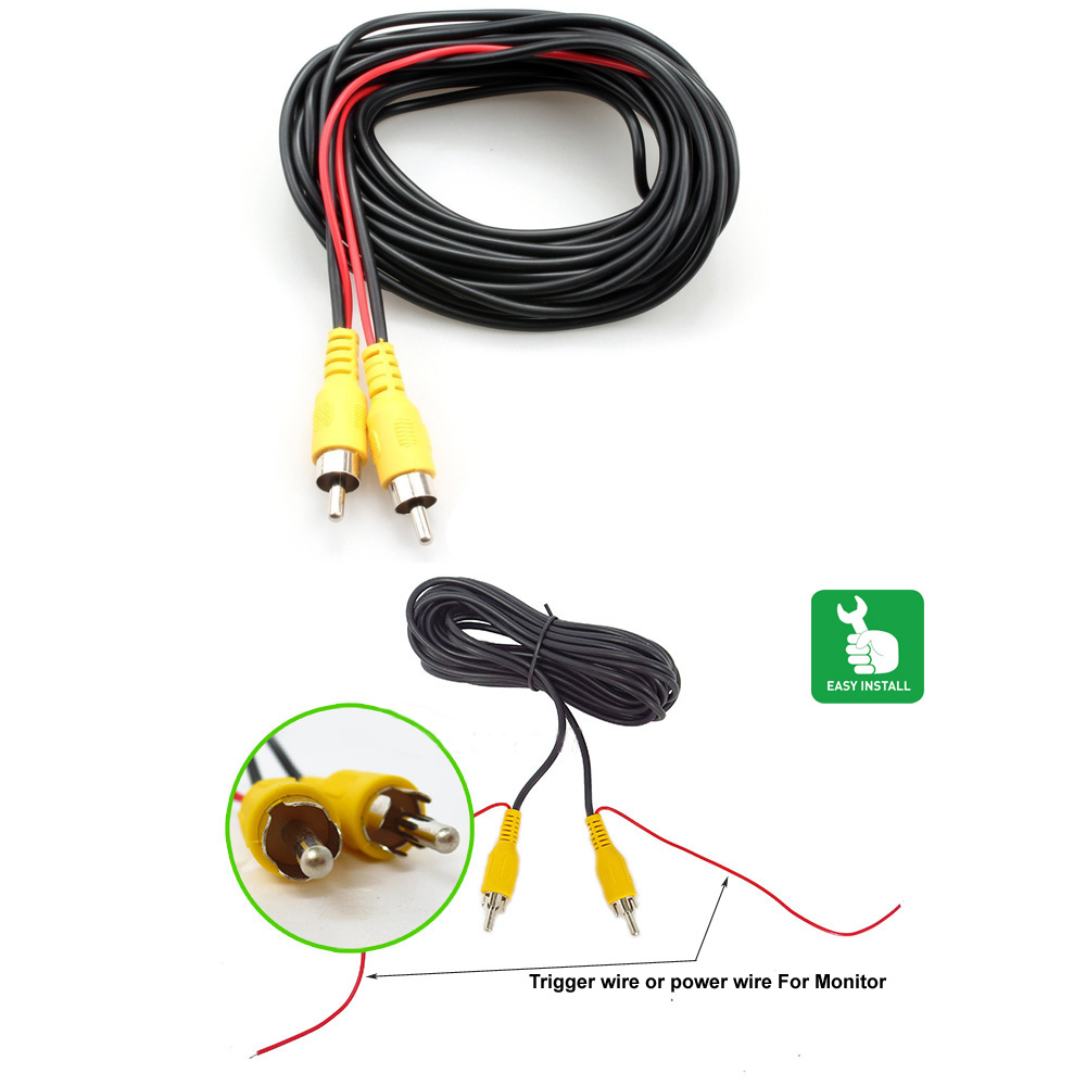 BYNCG AV Cable Universal wire harness for car rear view camera parking 6m video extension cable 6