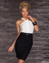 2014 neue Fashion Sexy Sleeveless Trägerloses Elegante Club bodycon Abend Pelpum Frau minikleid w gürtel