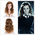 Medium Brown Long Curly Movie Harry Potter Hermione Jean Granger Cosplay Harajuku Women Wigs Synthetic Hair Wig