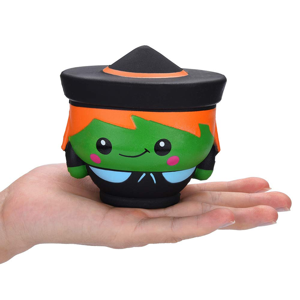 New Jumbo Halloween Witch Squishy Cute Cartoon Doll Slow Rising Smooth Soft Squeeze Toy Scented Funny For Kid Halloween Gift Toy