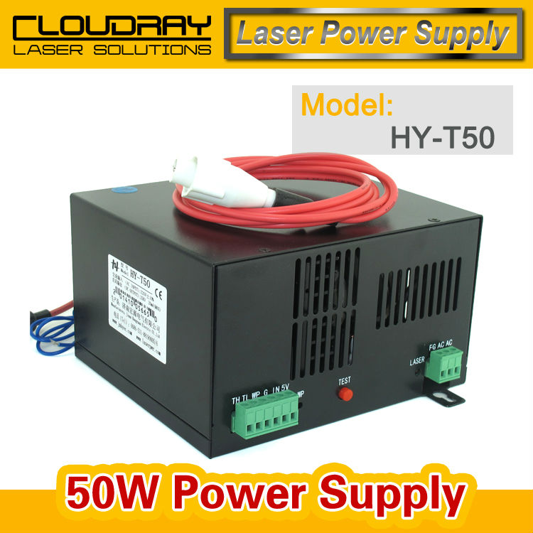50W CO2 Laser Power Supply for CO2 Laser Engraving Cutting Machine HY-T50 2pcs lot 60w laser power supply psu high voltage flyback hongyuan hy t60 co2 engraving cutting machine ignition coil