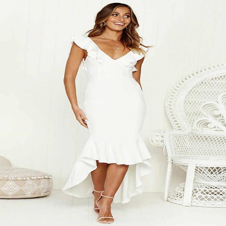 Summer B Hemline robes avec volants et col en v profond robe fendue femmes Maxi Sundress élégant ceinture robes de plage Vestidos Femme