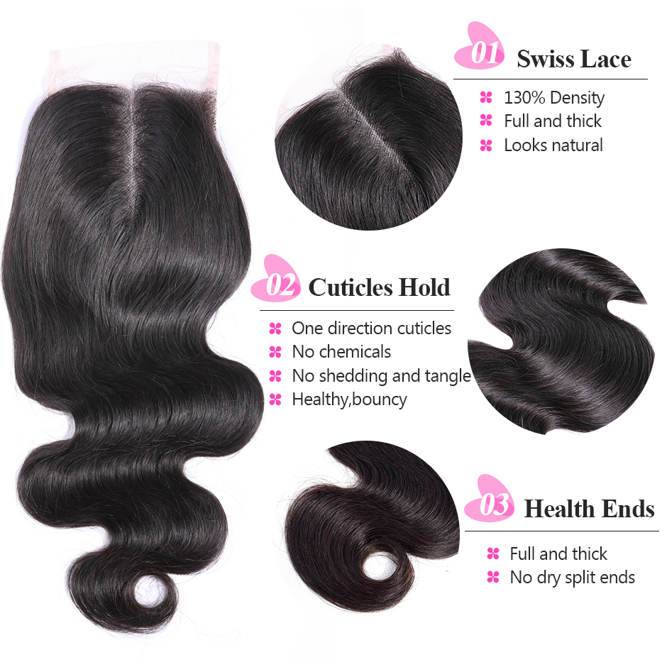 ISEE HAIR Brasileño Body Wave Closure Parte media Mano Atada 100% - Cabello humano (negro) - foto 2