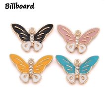Enamel Butterfly Charms for Jewelry Making Trendy Zinc Alloy Butterfly inlaid with Rhinestone 10pcs/bag pair of sweet butterfly rhinestone inlaid women s ear cuffs