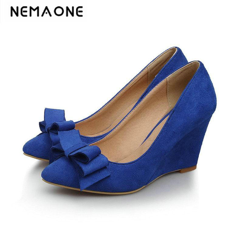 New arrive women sweet nubuck leather pointed toe wedges dress shoes large size 34-43 2017 new spring autumn big size 11 12 dress sweet wedges women shoes pointed toe woman ladies womens