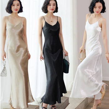 Sexy Spaghetti Strap Backless Summer Women Satin Trumpet Long Dress Elegant Bodycon Party Plus Size Dresses Vestidos sexy lace embroidery summer dress women vintage off shoulder backless dress elegant spaghetti strap casual party dresses vestido