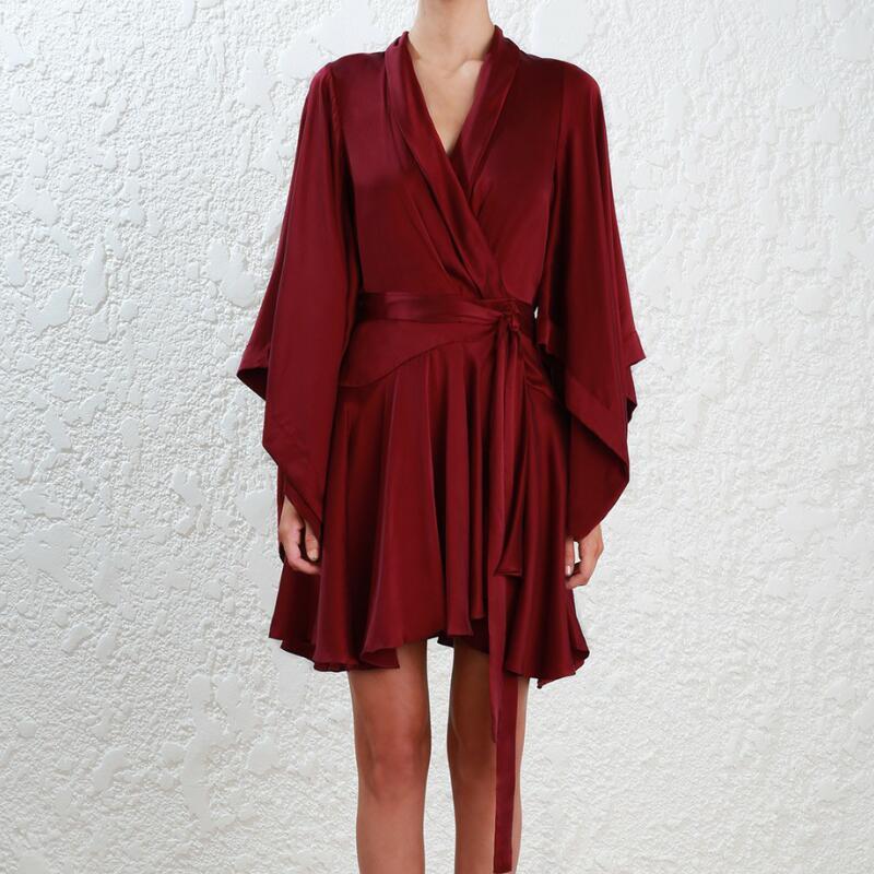 Mini Wrap Dress Wrist Flare Sleeve Deep V Neck Solid Summer Office Ladies Work Silk Vintage Elegant Dress Wine Red High Quality