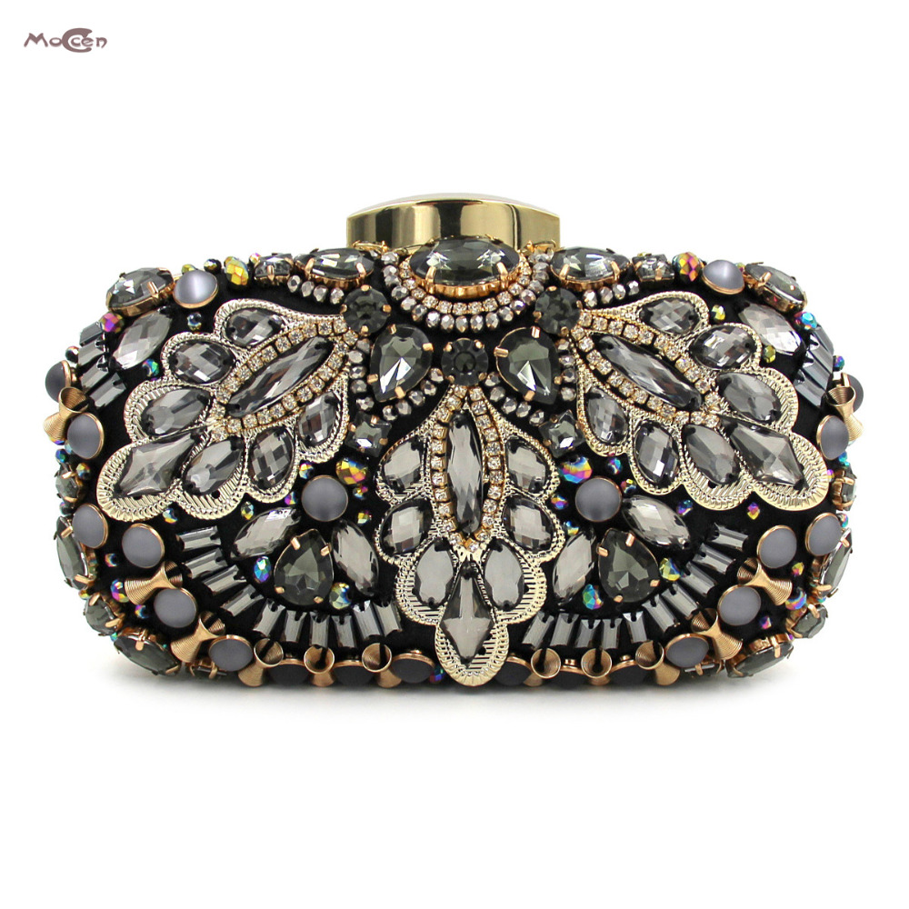 Moccen Luxury Women Handbags Crystal Evening Bags Designer Party Clutch Bag Crystal Purses Beaded Hand Bag For Showtime Girls new sequin clutch bag finger ring evening bag hard box clutch chain sshoulder bag crossbody bags for women purses and handbags