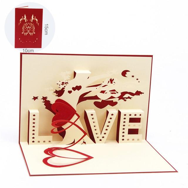 1 PC 3D Cartes De Voeux Mariage Cartes D'invitation