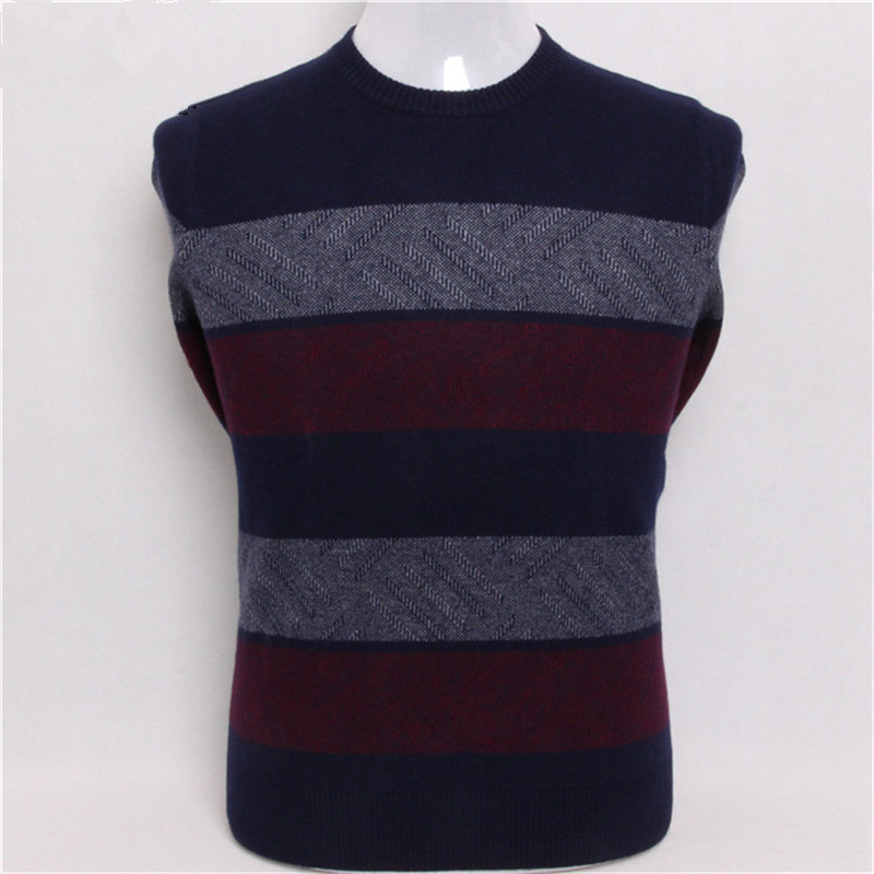 New Arrival Goat Cashmere Oneck Thick Knit Men Fashion Patchwork Color Striped Pullover Sweater 2color Blue S/4XL