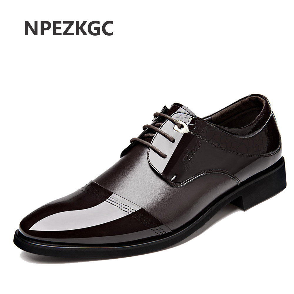 NPEZKGC New 2017 Business Dress Men Formal Shoes Wedding Pointed Toe Fashion PU Leather Shoes Flats Oxford Shoes For Men npezkgc brand high quality men oxford men leather dress shoes fashion business men shoes men dress pointed shoes wedding shoes