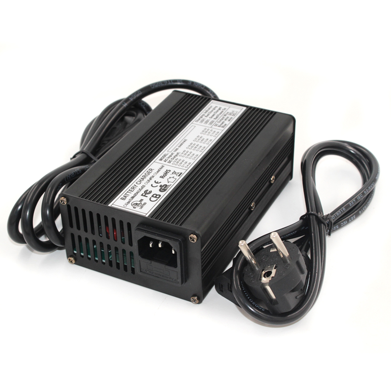 54 6V 3A charger 13S 48V Li-ion battery charger output DC 54 6V with cooling fan black aluminum shell