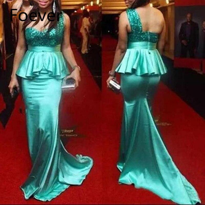 Élégant Bling paillettes une épaule robes de demoiselle d'honneur à volants vert fête robe de bal sirène 2019