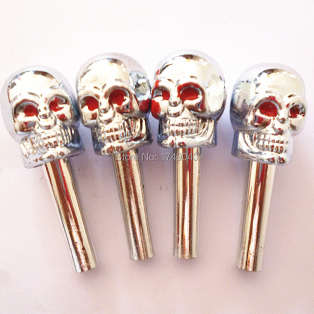 Universal 4x Skull Door Lock Locking Pins Pull Knobs With Red