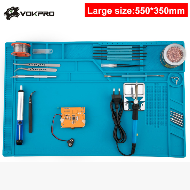Large Size 55*35cm Soldering Mat With Magnetic Repair Silicone Work Mat For Electronics Computer Phone DIY Welding Tool