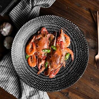 Large Soup Bowls   ANTOWALL Japanese Salad Soup Bowl Large Household Shallow Bowl Fruit Retro Three-dimensional Ceramic Bowl Black And White