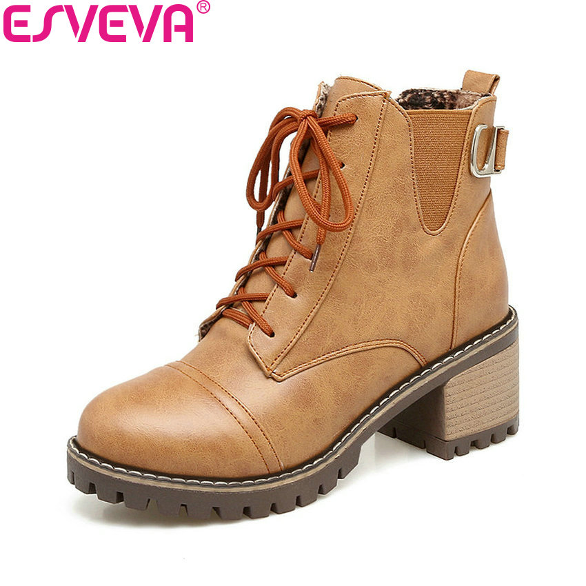 ESVEVA 2018 Ankle Strap Women Boots Square Heels Chunky Spring Autumn High Heel Ankle Boots Round Toe Synthetic Shoes Size 34-43 цена 2017