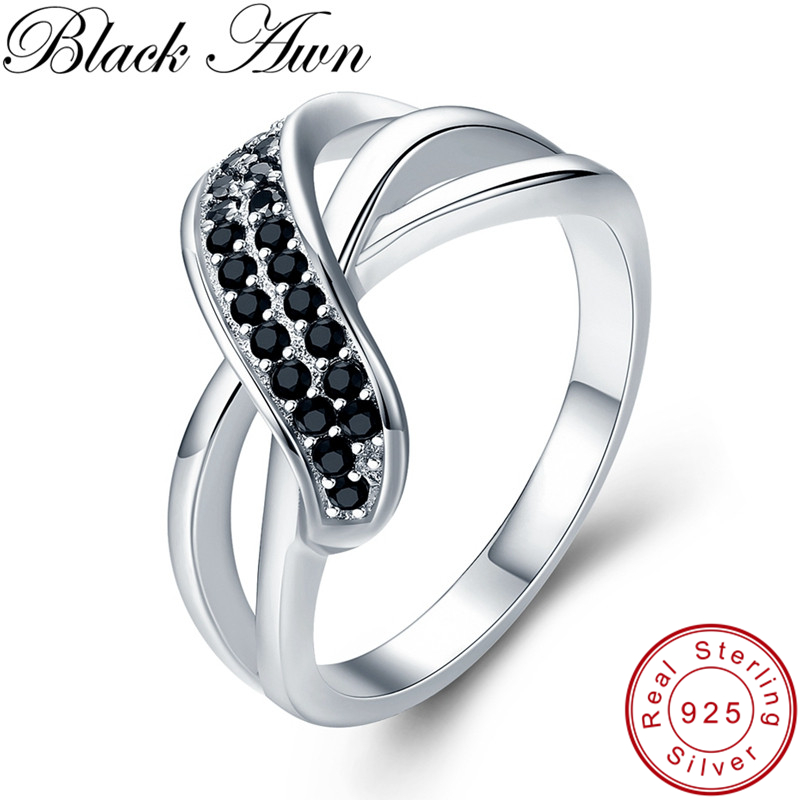 [BLACK AWN] Real 100% 925 Sterling Silver Ring Finger Black Spinel Leaf Wedding Rings For Women Sterling Silver Jewelry G036