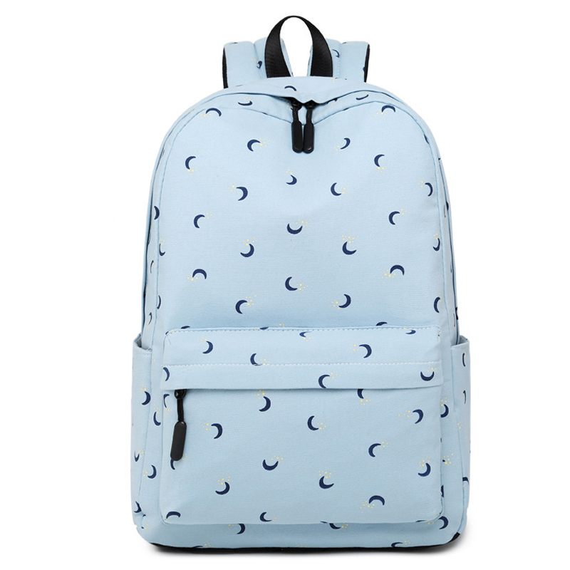 Fashion Women Cotton Shoulder Bag Student Bag School Girl Casual Moon Printing Daily Backpack Ladies Laptop Travel Bag fashion solid laptop backpack women usb charging polyester waterproof shoulder bag ladies school bag student casual travel bags