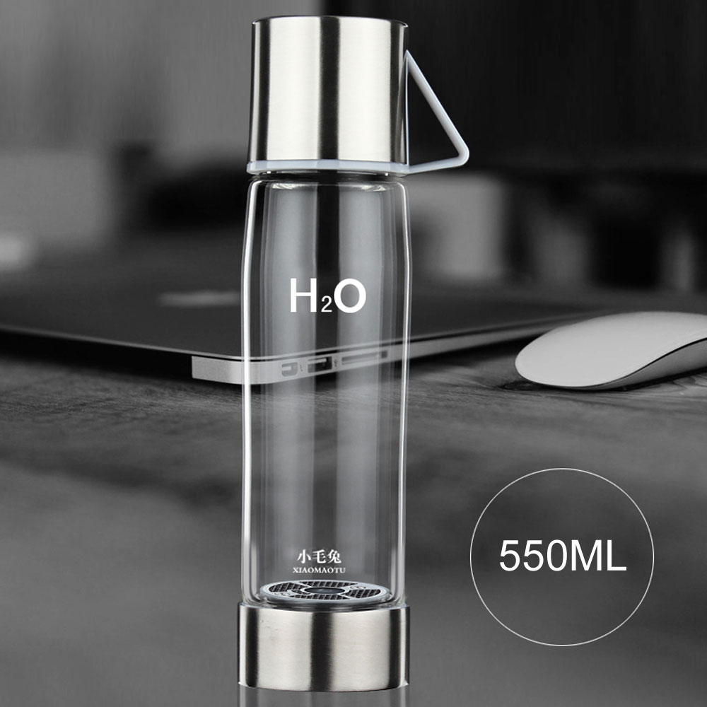 XIAOMAOTU 3rd Generation 550ML Smart Touch Hydrogen Rich Water Ionizer Bottle Hydrogen Generator Glass Water Bottle