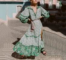 Летнее платье макси с принтом в стиле бохо Бесплатная винтажная