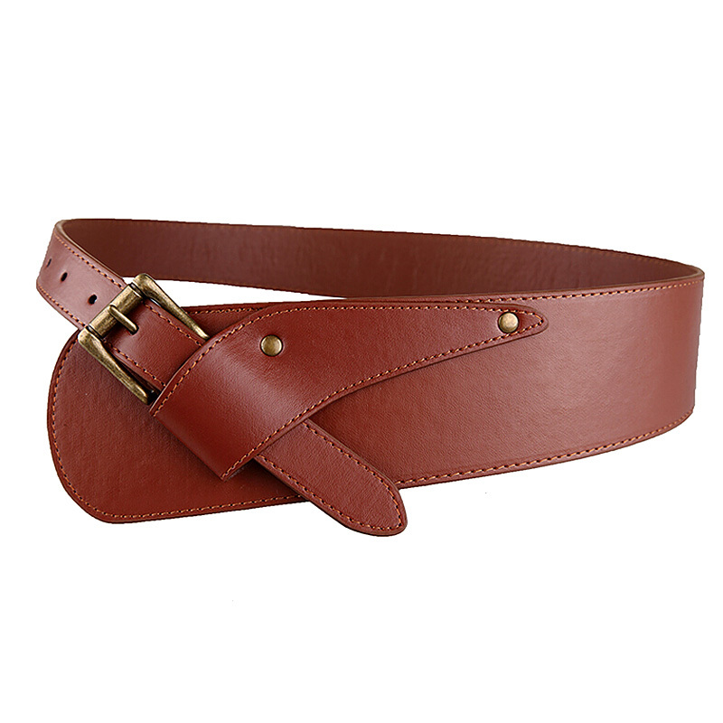 2016 new fashion brown pin buckle wide pu leather belt for