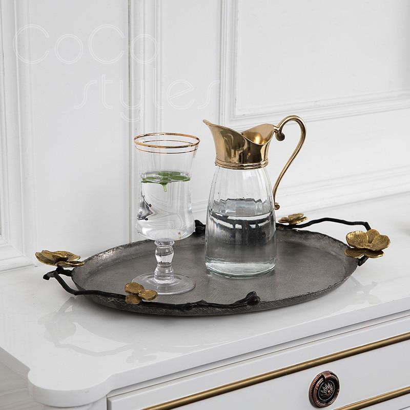 Cocostyles InsFashion vintage faire ancien plateau de service en cuivre ovale pour décor de restaurant de style royal arabe