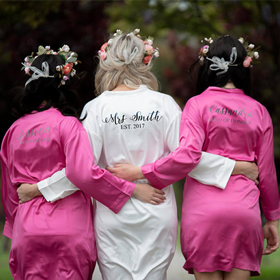 personalized name date wedding Bride Bridesmaid satin pajamas robes ...