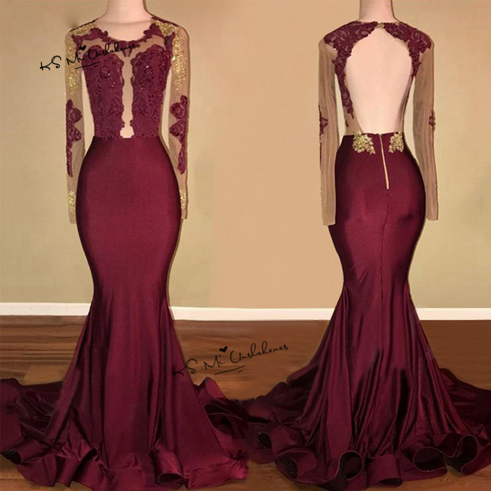 Robe de soirée Longue 2018 sirène formelle robes de soirée bordeaux à manches longues Robe de bal Sexy dos nu or dentelle Satin Robe - 2