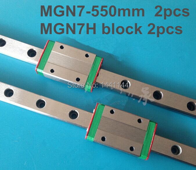 Kossel Pro Miniature  7mm linear slide :2pcs MGN7 - 550mm rail+2pcs MGN7H carriage for X Y Z axies 3d printer parts mgn12 12mm miniature linear rail slide mgn12h carriage for 3d printer