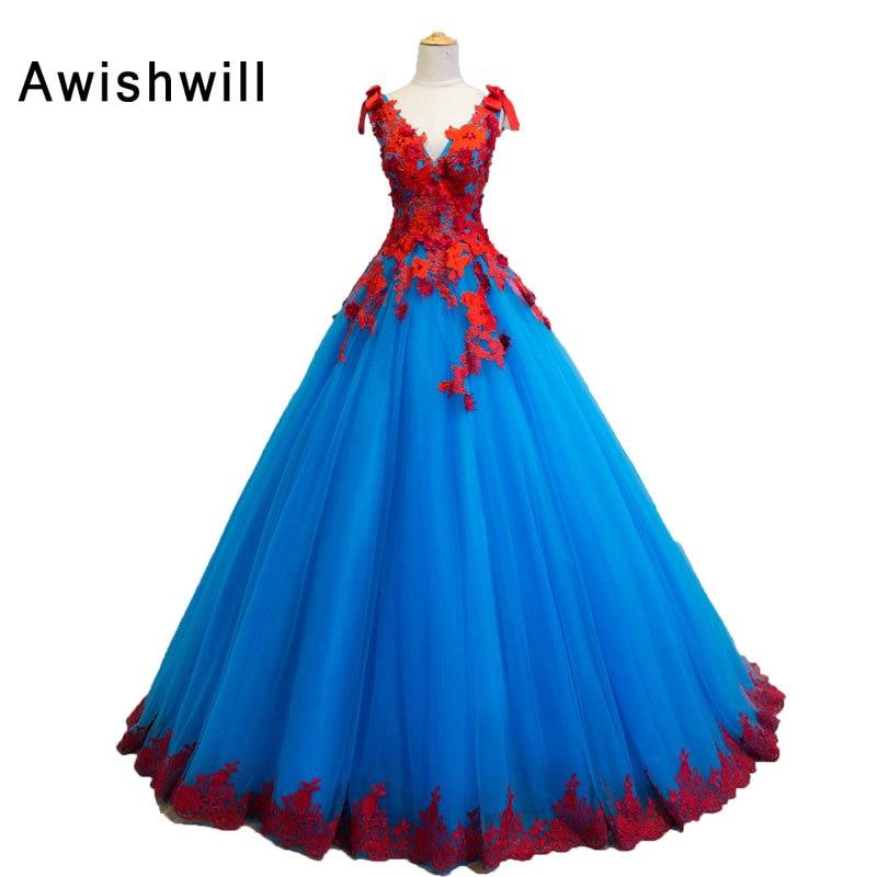 Vestido Longo Colorful Long Prom Dresses 2019 V Neck Lace Tulle Corset Back Debutante Dress Women Occasion Dress Robe De Soiree