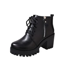 MoBeiNi Women's leather boots high heels thick ankle boots casual shoes women's zipper shoes black 35 39