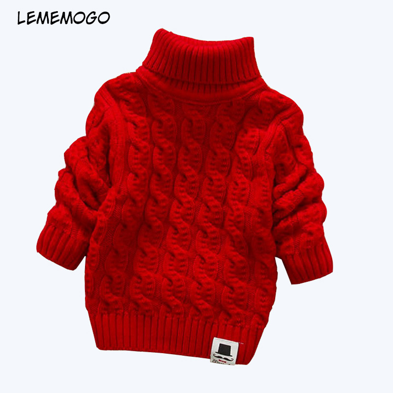 Lememogo 1-4Y Boys Girls Sweaters Turtleneck Solid Baby Kids Sweaters Soft Warm Long Sleeve Turtleneck Winter Sweaters For Girl
